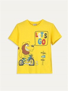 Sarı Erkek Çocuk Baskılı Pamuklu Tişört 9SB905Z4 LC Waikiki