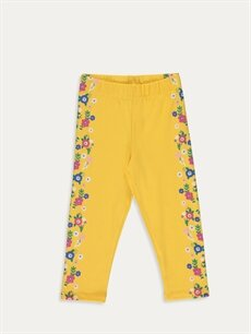 Sarı Kız Çocuk Çiçekli Pamuklu Tayt 9SC037Z4 LC Waikiki