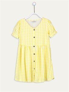 Sarı Kız Çocuk Ekoseli Viskon Elbise 9SC544Z4 LC Waikiki