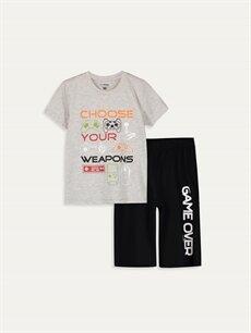 Siyah Erkek Çocuk Baskılı Pamuklu Pijama Takımı 9SC636Z4 LC Waikiki