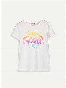 Beyaz Kız Çocuk Baskılı Pamuklu Tişört 9SC695Z4 LC Waikiki