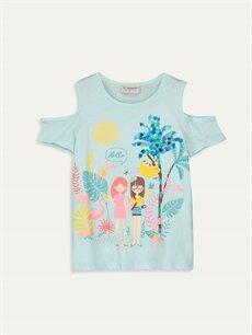 Turkuaz Kız Çocuk Omuzu Açık Desenli Pamuklu Tişört 9SC696Z4 LC Waikiki