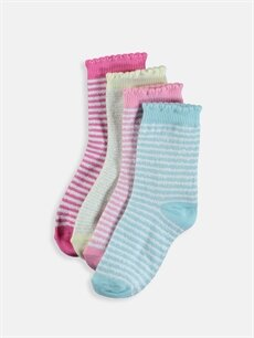 Çok Renkli Kız Bebek Çizgili Soket Çorap 4'lü 9S2155Z1 LC Waikiki