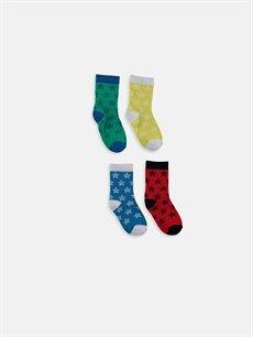 %84 Pamuk %3 Polyester %11 Poliamid %2 Elastan  Erkek Bebek Soket Çorap 4'lü