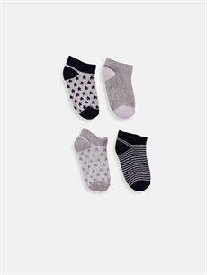 %64 Pamuk %35 Poliamid %1 Elastan  Erkek Bebek Patik Çorap 4'lü