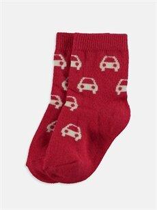 %73 Pamuk %25 Poliamid %2 Elastan  Erkek Bebek Soket Çorap 4'lü