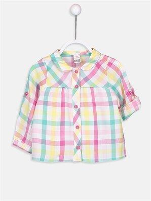 Kız Bebek Ekoseli Twill Viskon Gömlek  - LC WAIKIKI