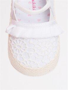 LC Waikiki Beyaz Kız Bebek Dantelli Espadril Ayakkabı