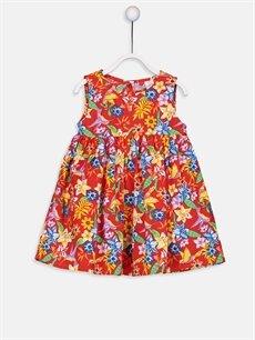 Kırmızı Kız Bebek Desenli Poplin Elbise 9S3292Z1 LC Waikiki