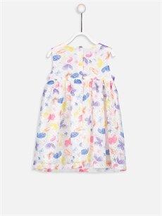 %100 Polyester %100 Pamuk Desenli Kız Bebek Desenli Dantel Elbise