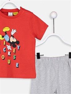 LC Waikiki Kırmızı Erkek Bebek Mickey Mouse Baskılı Tişört Ve Şort