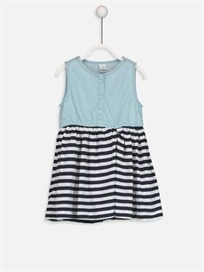 İndigo Kız Bebek Çizgili Elbise 9S4348Z1 LC Waikiki