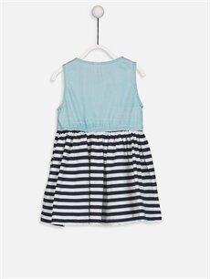 %100 Pamuk Desenli Kız Bebek Çizgili Elbise