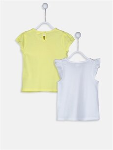 %100 Pamuk Baskılı Kısa Kol Tişört Bisiklet Yaka Kız Bebek Pamuklu Tişört 2'li
