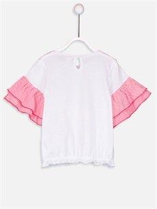 %100 Pamuk Standart Tişört Baskılı Kısa Kol Bisiklet Yaka Kız Bebek Pamuklu Baskılı Tişört