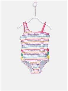 %79 Polyester %21 Elastan Kız Bebek Aplikeli Mayo