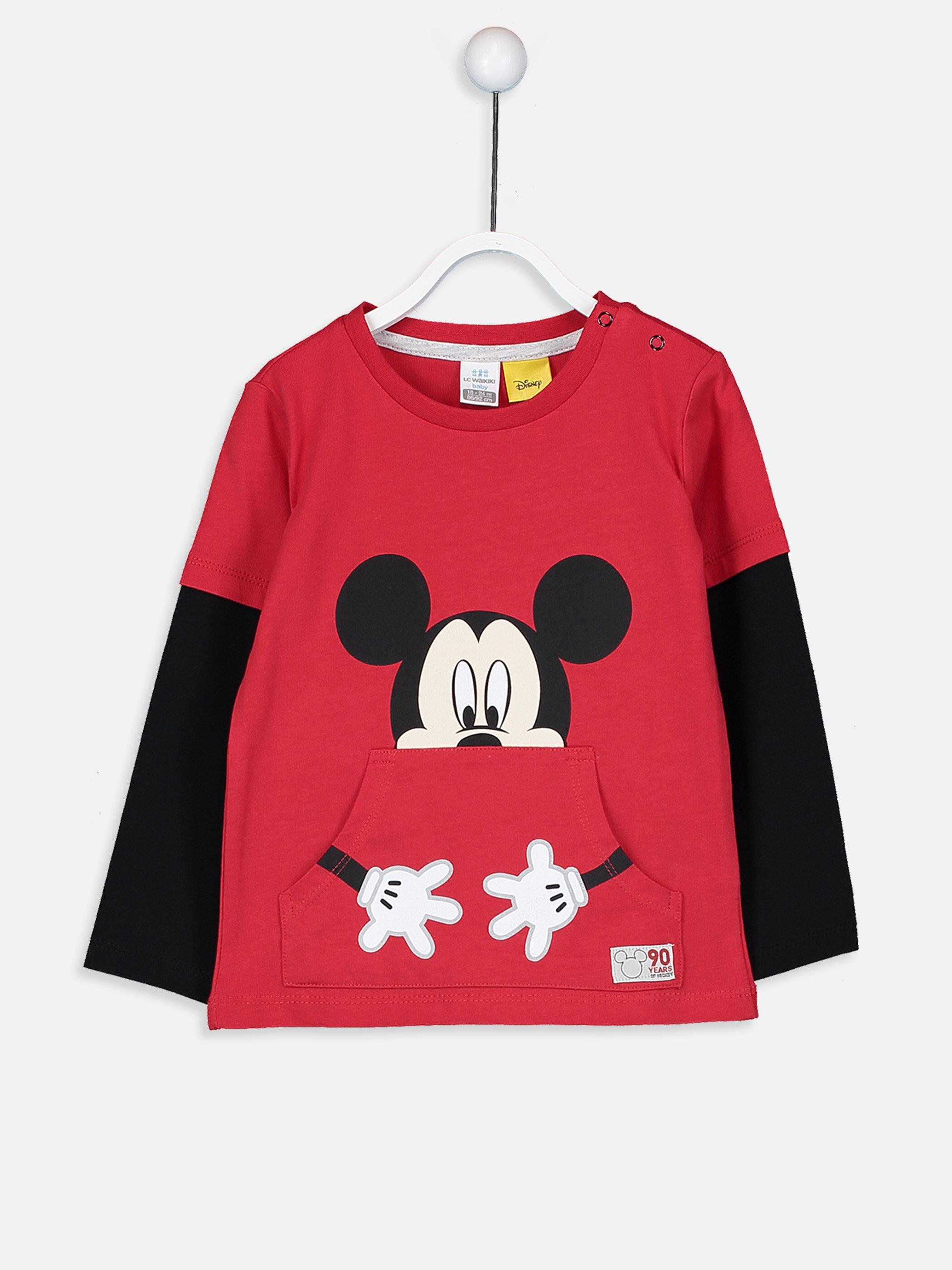 Erkek Bebek Pamuklu Mickey Mouse Baskılı Tişört -9S6461Z1-HNK