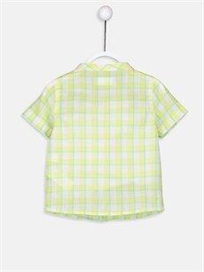 %100 Pamuk Standart Kısa Kol Ekoseli Erkek Bebek Ekoseli Poplin Gömlek