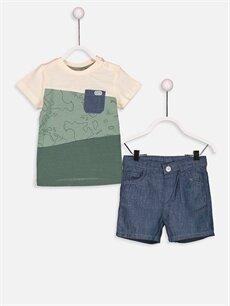 Ekru Erkek Bebek Baskılı Tişört ve Bermuda Şort 9S7678Z1 LC Waikiki