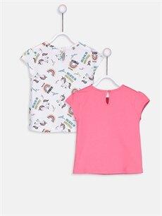 %100 Pamuk Baskılı Kısa Kol Tişört Bisiklet Yaka Kız Bebek Pamuklu Unicorn Desenli Tişört