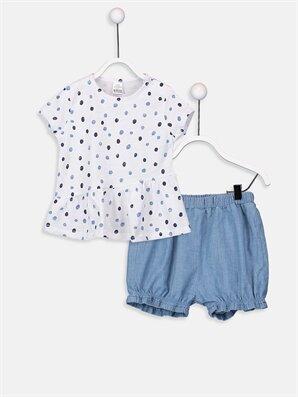 Kız Bebek Puantiyeli Tişört Ve Jean Şort  - LC WAIKIKI