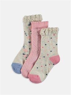 Çok Renkli Kız Bebek Soket Çorap 3'lü 9S9166Z1 LC Waikiki