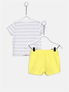%99 Pamuk %1 Polyester %100 Pamuk  Erkek Bebek Mickey Mouse Baskılı Tişört Ve Şort
