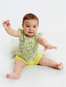 Beyaz Kız Bebek Pamuklu Şort 2'li