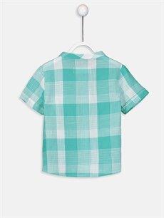%100 Pamuk Ekoseli Standart Kısa Kol Erkek Bebek Ekose Poplin Gömlek