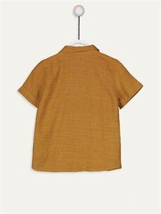 %54 Pamuk %46 Viskon Standart Düz Kısa Kol Erkek Bebek Gömlek