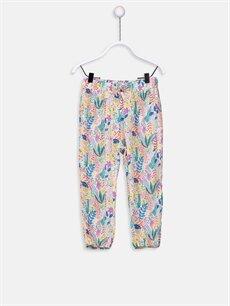 Beyaz Kız Bebek Desenli Poplin Pantolon 9SH986Z1 LC Waikiki
