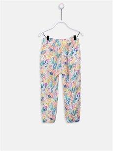 %100 Viskoz Normal Bel Kız Bebek Desenli Poplin Pantolon
