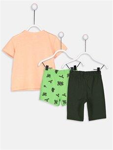 %48 Pamuk %52 Polyester Standart Erkek Bebek Pijama Takımı 3'lü