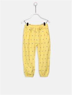 Sarı Kız Bebek Desenli Viskoz Pantolon 9SI967Z1 LC Waikiki