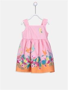 Pembe Kız Bebek Desenli Poplin Elbise 9SJ372Z1 LC Waikiki