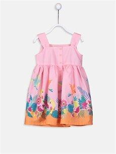 %100 Pamuk Desenli Kız Bebek Desenli Poplin Elbise