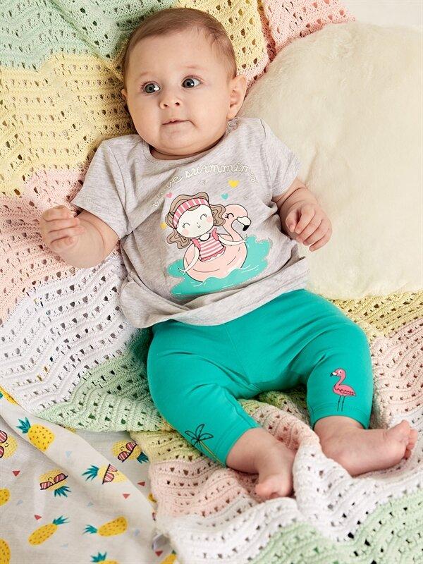 Kız Bebek Desenli Tişört 2'li - LC WAIKIKI