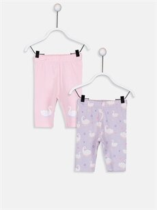 Pembe Kız Bebek Pamuklu Baskılı Pijama Alt 2'li 9SK503Z1 LC Waikiki