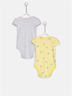 %98 Pamuk %2 Polyester  Kız Bebek Pamuklu Çıtçıtlı Body 2'li