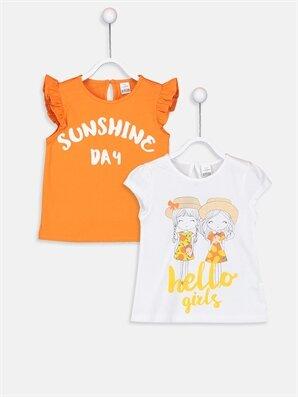Kız Bebek Baskılı Pamuklu Tişört 2'li  - LC WAIKIKI