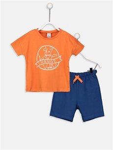 Turuncu Erkek Bebek Pamuklu Tişört Ve Şort 9SP210Z1 LC Waikiki