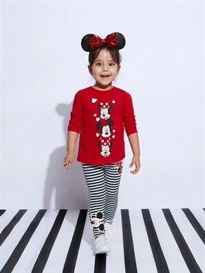 Kız Pamuklu Bebek Mickey Mouse Baskılı Çizgili Tayt - LC WAIKIKI