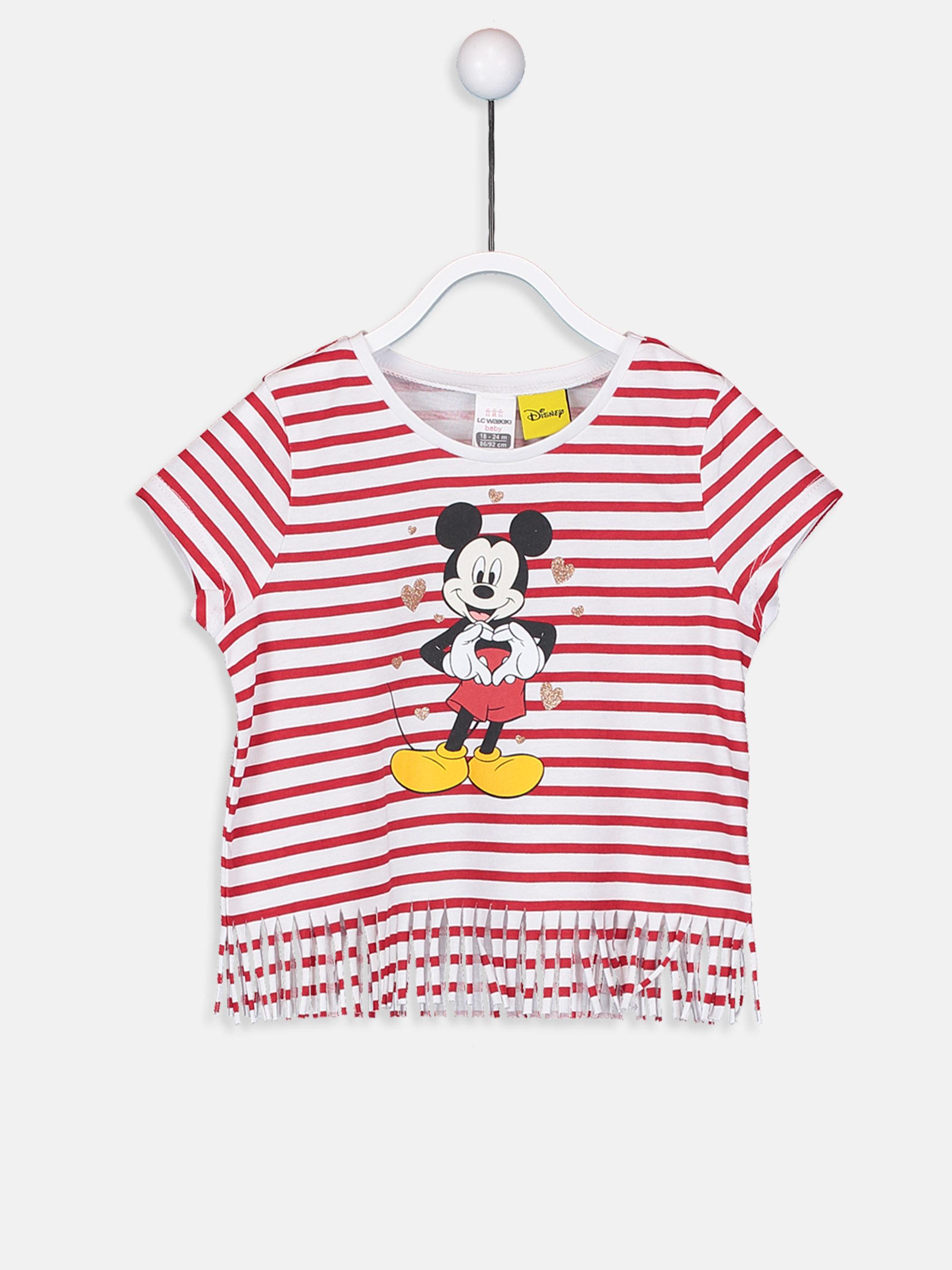 Kız Bebek Mickey Mouse Baskılı Tişört -9SQ549Z1-E48