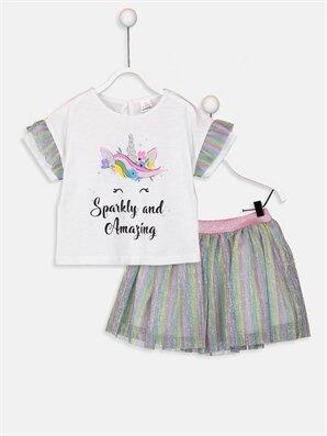 Kız Bebek Unicorn Desenli Tişört Ve Etek - LC WAIKIKI