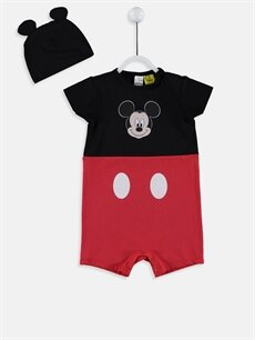 Kırmızı Erkek Bebek Mickey Mouse Baskılı Tulum ve Bere 9SR433Z1 LC Waikiki