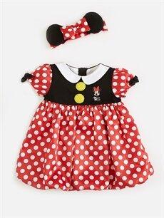 Kız Bebek Minnie Mouse Baskılı Elbise ve Saç Bandı
