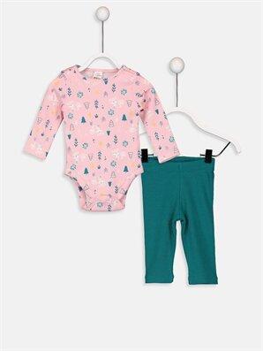 Kız Bebek Desenli Çıtçıtlı Body ve Pantolon  - LC WAIKIKI