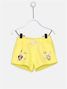 Sarı Kız Bebek Disney Baskılı Pamuklu Şort 9ST404Z1 LC Waikiki