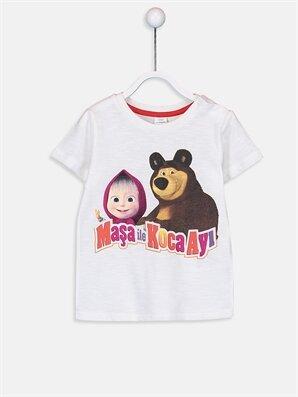 Erkek Bebek Maşa ile Koca Ayı Baskılı Pamuklu Tişört - LC WAIKIKI