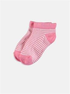 %77 Pamuk %21 Poliamid %2 Elastan  Kız Bebek Patik Çorap 3'lü